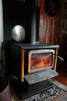 Woodstove and Ecofan.
