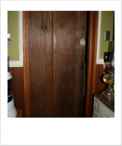Log Cabin Front Door as Bathroom Door
