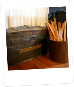 Cabin firewood storage.